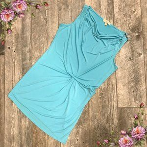 Baby blue sleeveless dress.